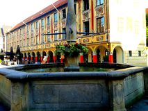 美丽的被绘的房子在梅明根 免版税图库摄影