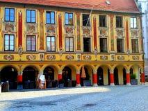美丽的被绘的房子在梅明根 免版税库存图片