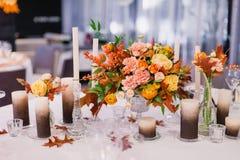 美丽的装饰的婚姻的桌 库存图片