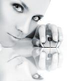 美丽的计算机女孩鼠标 免版税库存照片