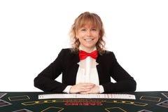 美丽的赌博娱乐场经销商 免版税图库摄影