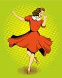 美丽的跳舞妇女 导航在漫画减速火箭的流行艺术样式的例证 免版税库存照片