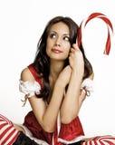 美丽的辅助工少许s性感的圣诞老人 免版税库存图片