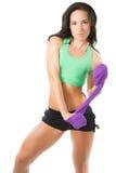 美丽的运动员妇女暂挂毛巾 免版税图库摄影