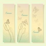 美丽的郁金香和蝴蝶 免版税库存图片