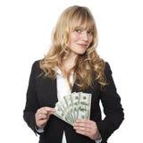 年轻美丽的金发女商人 免版税库存图片