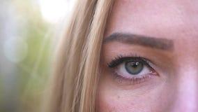美丽的金发碧眼的女人打开在照相机的眼睛神色,关闭  t 3840x2160 影视素材