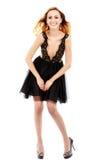 美丽的金发碧眼的女人的画象黑礼服的 库存照片