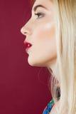 美丽的金发碧眼的女人画象有专业构成的在演播室 与干净的完善的皮肤的妇女面孔在桃红色背景 免版税图库摄影