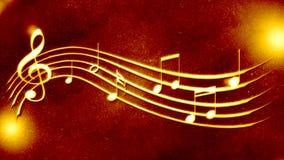 美丽的金黄背景音乐记法 免版税库存照片