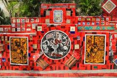 美丽的铺磁砖的墙壁在里约热内卢巴西 免版税图库摄影