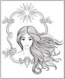 美丽的长期女孩头发年轻人 储蓄线传染媒介 向量例证