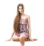 美丽的长期女孩头发年轻人 免版税库存照片