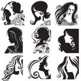 美丽的集剪影向量妇女 库存照片