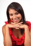 美丽的青少年女孩华美的愉快的微笑 免版税图库摄影
