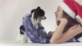 美丽的青少年的女孩在圣诞老人帽子和狗大陆玩具西班牙猎狗在新年使用` s的闪亮金属片的Papillon快乐  影视素材