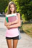 美丽的青少年的学员女孩。 图库摄影