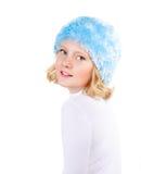 美丽的青春期前的女孩冬天纵向  免版税库存图片