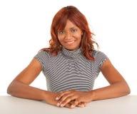 美丽的非裔美国人的夫人的特写镜头 免版税图库摄影