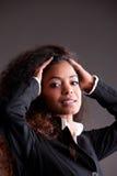 美丽的非洲女孩强烈的神色 库存图片