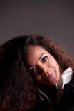 美丽的非洲女孩强烈的神色 库存照片