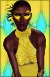 美丽的非洲妇女佩带的黄色 免版税库存图片