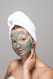 美丽的面部屏蔽妇女 免版税库存照片