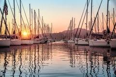 美丽的风船在船坞 免版税库存照片