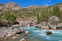 美丽的风雨如磐的绿松石山河 库存照片