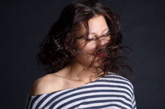 美丽的飞行女孩头发 免版税库存图片