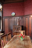 美丽的餐桌,其中艺术家当晚聚集, Yaddo庭院豪宅,萨拉托加斯普林斯,纽约,秋天, 2014年 库存图片