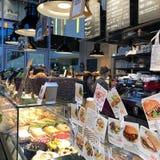 美丽的餐馆用食物在俄罗斯 免版税库存照片