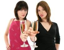 美丽的香槟妇女年轻人 免版税图库摄影