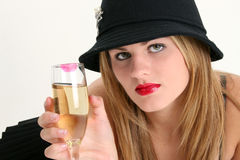 美丽的香槟玻璃妇女年轻人 库存照片