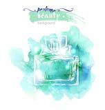 美丽的香水瓶,在水彩背景 美好和时尚背景 向量 库存图片