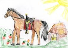 美丽的马横向草甸 图画父亲儿子 免版税库存图片