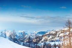 美丽的高山山 33c 1月横向俄国温度ural冬天 免版税库存照片