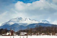 美丽的高山山 33c 1月横向俄国温度ural冬天 库存照片