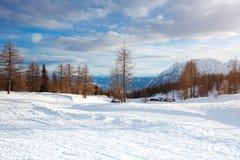 美丽的高山山 33c 1月横向俄国温度ural冬天 免版税库存图片
