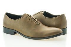 美丽的高雅和豪华皮革棕色人鞋子 免版税库存照片