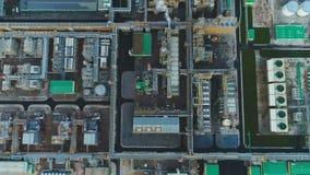 美丽的鸟瞰图大气油精炼厂疆土 影视素材