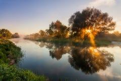 美丽的黎明天空的反射在河 免版税库存照片