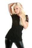 美丽的黑色女孩皮革裤子 库存图片