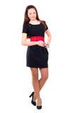 美丽的黑色礼服女孩年轻人 免版税图库摄影