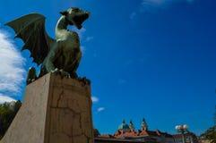 美丽的龙桥梁,卢布尔雅那,斯洛文尼亚 免版税库存图片