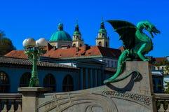 美丽的龙桥梁,卢布尔雅那,斯洛文尼亚 免版税库存照片