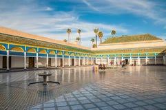 美丽的巴伊亚宫殿在马拉喀什,摩洛哥 免版税库存照片