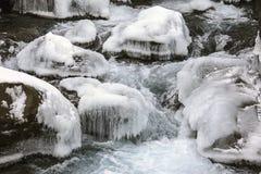 美丽的结冰的瀑布在冰岛 免版税库存照片