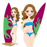 年轻冲浪者女孩 免版税库存图片