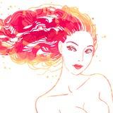 美丽的头发长的纵向妇女 免版税图库摄影